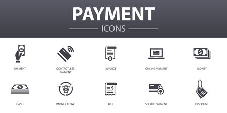 payment simple concept icons set. Contains such icons as Invoice, money, bill, discount and more, can be used for web