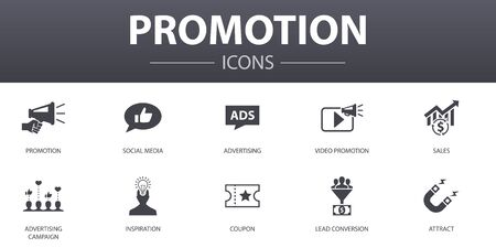 Promotion simple concept icons set. Contains such icons as advertising, sales, lead conversion, attract and more, can be used for web