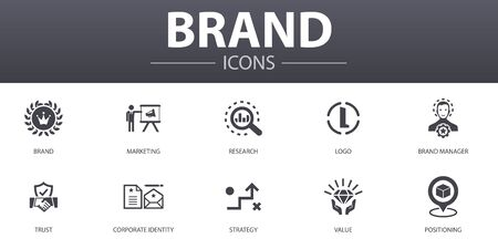 brand simple concept icons set. Contains such icons as marketing, research, brand manager, strategy and more, can be used for web