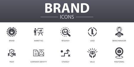 zestaw ikon proste pojęcie marki. Zawiera takie ikony, jak marketing, badania, menedżer marki, strategia i inne, które można wykorzystać w sieci Ilustracje wektorowe
