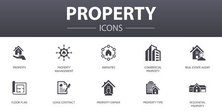 property simple concept icons set. Contains such icons as property type, amenities, lease contract, floor plan and more, can be used for web Ilustrace
