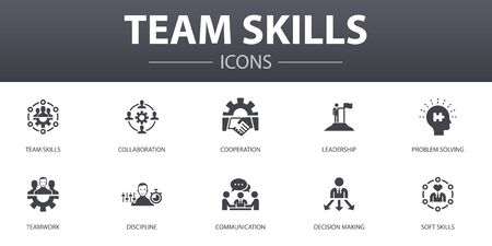 team skills simple concept icons set. Contains such icons as Collaboration, cooperation, teamwork, communication and more, can be used for web Иллюстрация