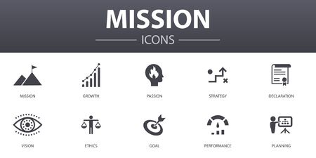 mission simple concept icons set. Contains such icons as growth, passion, strategy, performance and more, can be used for web