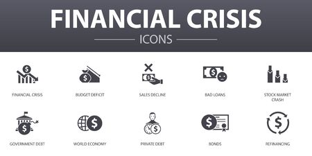 financial crisis simple concept icons set. Contains such icons as budget deficit, Bad loans, Government debt, Refinancing and more, can be used for web