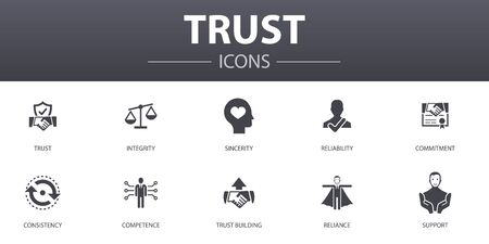 trust simple concept icons set. Contains such icons as integrity, sincerity, commitment, trust building and more, can be used for web 向量圖像