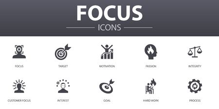 focus simple concept icons set. Contains such icons as target, motivation, integrity, process and more, can be used for web