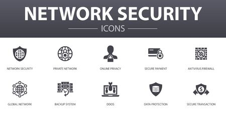 network security simple concept icons set. Contains such icons as private network, online privacy, backup system, data protection and more, can be used for web