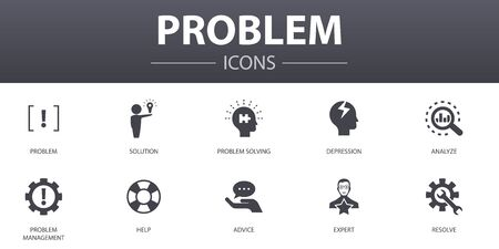 problem simple concept icons set. Contains such icons as solution, depression, analyze, resolve and more, can be used for web