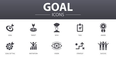 goal simple concept icons set. Contains such icons as target, wish, task, goal setting and more, can be used for web