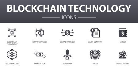 blockchain technology simple concept icons set. Contains such icons as cryptocurrency, digital currency, smart contract, transaction and more, can be used for web