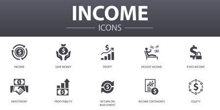 Ensemble d'icônes de concept simple de revenu. Contient des icônes telles que économiser de l'argent, profit, investissement, rentabilité et plus encore, peut être utilisé pour le web Vecteurs
