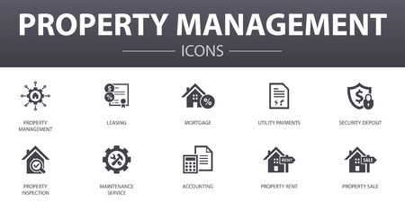 property management simple concept icons set. Contains such icons as leasing, mortgage, security deposit, accounting and more, can be used for web