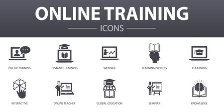 Online Training simple concept icons set. Contains such icons as Distance Learning, learning process, elearning, seminar and more, can be used for web