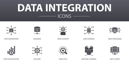 Data integration simple concept icons set. Contains such icons as database, data scientist, Analytics, Machine Learning and more, can be used for web Illustration