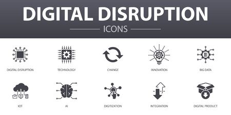 digital disruption simple concept icons set. Contains such icons as technology, innovation, IOT, digitization and more, can be used for web