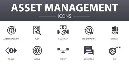 asset management simple concept icons set. Contains such icons as audit, investment, business, stability and more, can be used for web