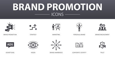 brand promotion simple concept icons set. Contains such icons as strategy, marketing, personal brand, advertising and more, can be used for web