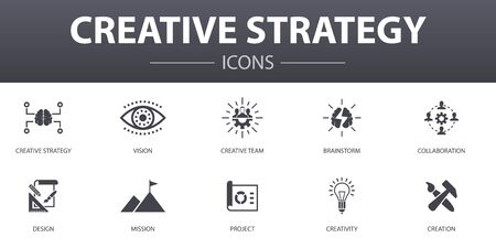 Creative Strategy simple concept icons set. Contains such icons as vision, brainstorm, collaboration, project and more, can be used for web Illustration
