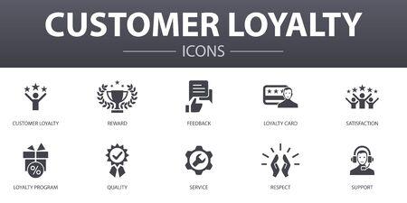 Kundenbindung einfaches Konzept Icons Set. Enthält Symbole wie Belohnung, Feedback, Zufriedenheit, Qualität und mehr, kann für das Web verwendet werden