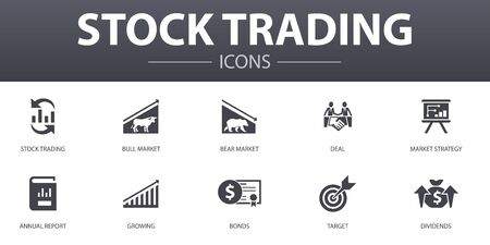 stock trading simple concept icons set. Contains such icons as bull market, bear market, annual report, target and more, can be used for web