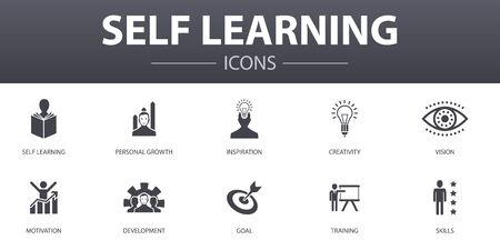 Self learning simple concept icons set. Contains such icons as personal growth, inspiration, creativity, development and more, can be used for web