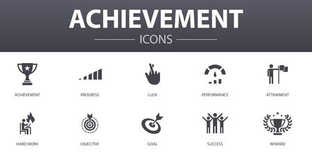 achievement simple concept icons set. Contains such icons as progress, performance, goal, success and more, can be used for web
