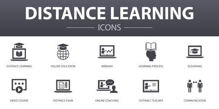 Distance Learning simple concept icons set. Contains such icons as online education, webinar, learning process, video course and more, can be used for web