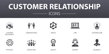 customer relationship simple concept icons set. Contains such icons as communication, service, CRM, customer care and more, can be used for web