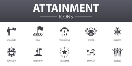 attainment simple concept icons set. Contains such icons as goal, leadership, objective, teamwork and more, can be used for web