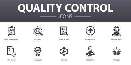 quality control simple concept icons set. Contains such icons as analysis, improvement, service level, excellent and more, can be used for web
