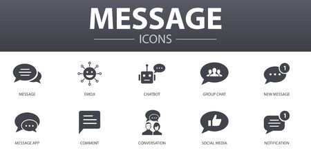 message simple concept icons set. Contains such icons as emoji, chatbot, group chat, message app and more, can be used for web Illustration