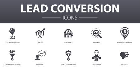 lead conversion simple concept icons set. Contains such icons as sales, analysis, prospect, customer and more, can be used for web Illustration