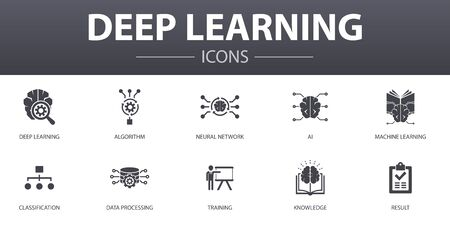 Deep learning simple concept icons set. Contains such icons as algorithm, neural network, AI, Machine learning and more, can be used for web