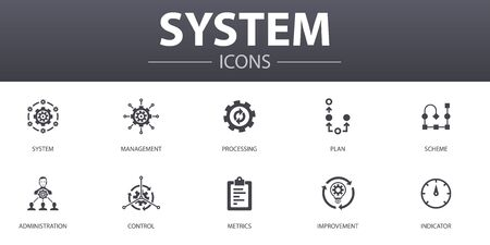 system simple concept icons set. Contains such icons as management, processing, plan, scheme and more, can be used for web