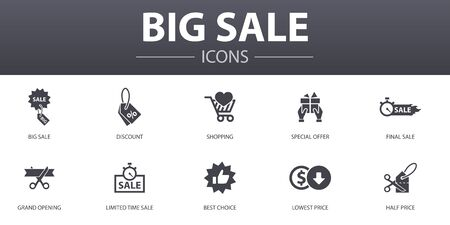 big sale simple concept icons set. Contains such icons as discount, shopping, special offer, best choice and more, can be used for web