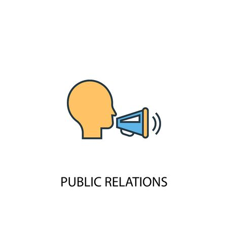 public relations concept 2 colored line icon. Simple yellow and blue element illustration. public relations concept outline design