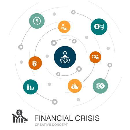 financial crisis colored circle concept with simple icons. Contains such elements as budget deficit, Bad loans, Government debt, Refinancing Illusztráció