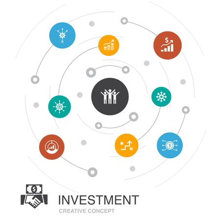 Investment colored circle concept with simple icons. Contains such elements profit, asset, market, success