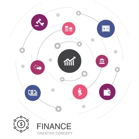 Finance colored circle concept with simple icons. Contains such elements as Bank, Money, Graph, Exchange 일러스트