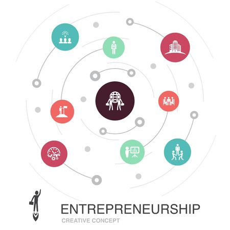 Entrepreneurship colored circle concept with simple icons. Contains such elements as Investor, Partnership, Leadership, Team building Ilustracja