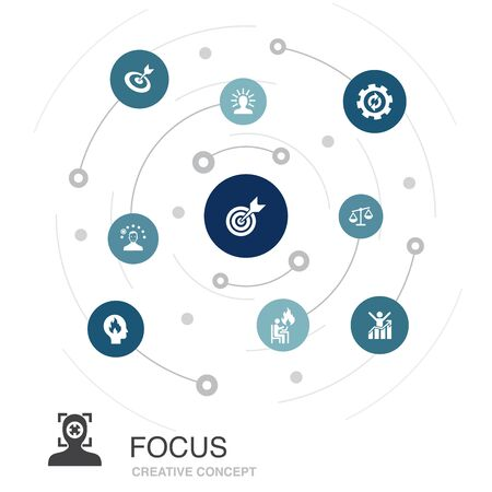 focus colored circle concept with simple icons. Contains such elements as target, motivation, integrity, process