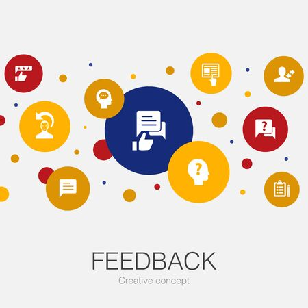 feedback trendy circle template with simple icons. Contains such elements as survey, opinion, comment Illusztráció