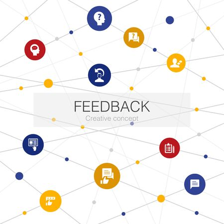 feedback trendy web template with simple icons. Contains such elements as survey, opinion, comment
