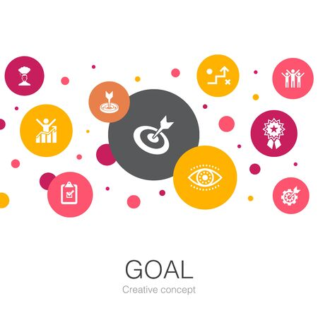 goal trendy circle template with simple icons. Contains such elements as target, wish, task, setting Stock Illustratie