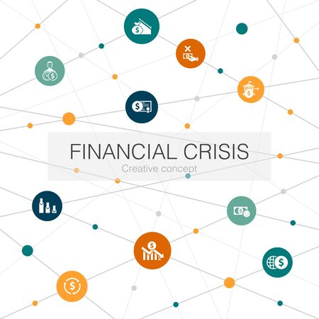 financial crisis trendy web template with simple icons. Contains such elements as budget deficit, Bad loans, Government debt Illustration