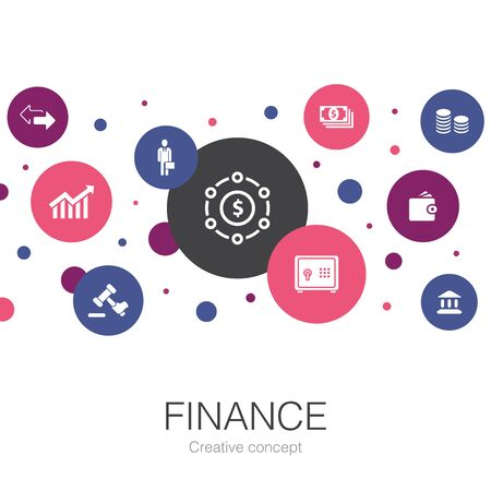 Finance trendy circle template with simple icons. Contains such elements as Bank, Money, Graph, Exchange