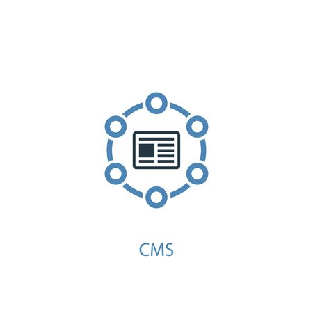 CMS concept 2 colored icon. Simple blue element illustration. CMS concept symbol design. Can be used for web and mobile UI Ilustração