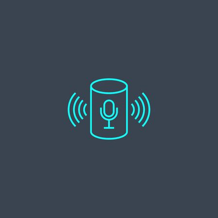 voice assistant concept blue line icon. Simple thin element on dark background. voice assistant concept outline symbol design. Can be used for web and mobile UI