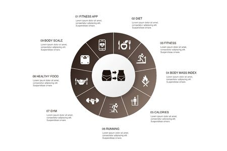 weight loss Infographic 10 steps circle design.body scale, healthy food, gym, diet simple icons