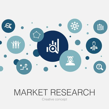 Market research trendy circle template with simple icons. Contains such elements as strategy, investigation, survey